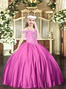 Nice Fuchsia Lace Up Off The Shoulder Beading Little Girl Pageant Dress Satin Sleeveless