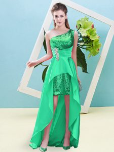 Turquoise Lace Up One Shoulder Beading and Sequins Pageant Dress Wholesale Elastic Woven Satin and Sequined Sleeveless
