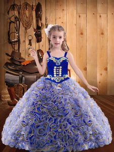 Straps Sleeveless Girls Pageant Dresses Floor Length Embroidery and Ruffles Multi-color Fabric With Rolling Flowers