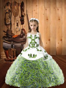 Ball Gowns Pageant Dress for Girls Multi-color Straps Fabric With Rolling Flowers Sleeveless Floor Length Lace Up
