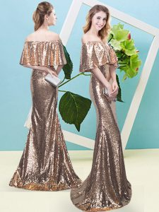 Wonderful Off The Shoulder Half Sleeves Zipper Pageant Dress for Girls Gold Sequined