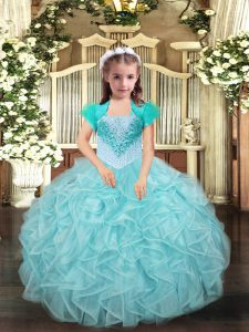 Aqua Blue and Apple Green Ball Gowns Beading and Ruffles Pageant Gowns For Girls Lace Up Organza Sleeveless Floor Length