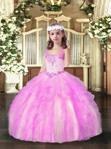 Sleeveless Floor Length Beading and Ruffles Lace Up Little Girls Pageant Gowns with Lilac