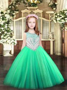 Low Price Turquoise Tulle Zipper Scoop Sleeveless Floor Length Pageant Dress for Womens Beading