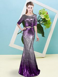 Pretty Half Sleeves Floor Length Sequins and Belt Zipper Pageant Dress for Teens with Multi-color