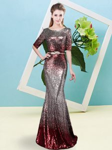 Half Sleeves Zipper Floor Length Sequins Pageant Dress for Womens