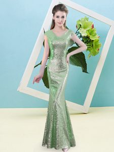 Eye-catching V-neck Cap Sleeves Evening Gowns Floor Length Sequins Green Sequined