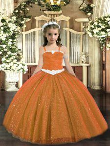 Straps Sleeveless Winning Pageant Gowns Floor Length Appliques Rust Red Tulle