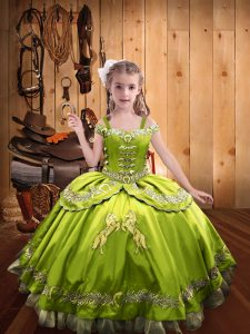Floor Length Yellow Green Kids Pageant Dress Satin Sleeveless Beading and Embroidery