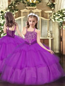 Nice Purple Sleeveless Beading and Ruffled Layers Floor Length Little Girls Pageant Dress
