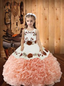 Floor Length Ball Gowns Sleeveless Peach Little Girls Pageant Dress Wholesale Lace Up