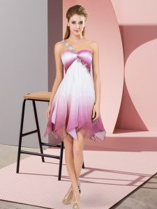 Fading Color Sleeveless Asymmetrical Pageant Dress for Womens and Beading
