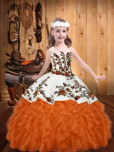 Latest Sleeveless Organza Floor Length Lace Up Kids Formal Wear in Orange Red with Embroidery and Ruffles
