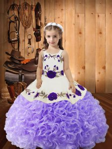 Lavender Straps Neckline Embroidery and Ruffles Pageant Dress for Teens Sleeveless Lace Up