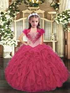 Ball Gowns Kids Formal Wear Hot Pink Straps Organza Sleeveless Floor Length Lace Up