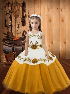 Straps Sleeveless Lace Up Pageant Dress Gold Organza