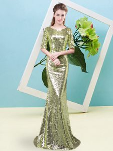 On Sale Sequins Pageant Dress for Girls Yellow Green Zipper Half Sleeves Floor Length