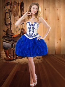 Sleeveless Embroidery and Ruffles Lace Up Pageant Dress for Teens
