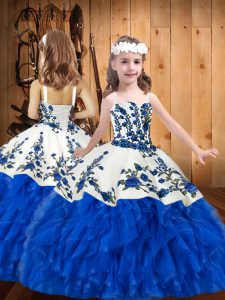 Floor Length Blue And White Pageant Dress for Teens Organza Sleeveless Embroidery and Ruffles