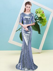 Blue Mermaid Sequins Pageant Dress for Womens Zipper Sequined Half Sleeves Floor Length