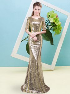 Top Selling Yellow Scoop Neckline Sequins Pageant Dresses Half Sleeves Zipper