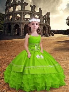 Sleeveless Satin and Organza Floor Length Zipper Kids Formal Wear in Yellow Green with Embroidery and Ruffled Layers