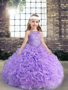 Inexpensive Floor Length Lavender Pageant Dress Toddler Scoop Sleeveless Lace Up