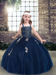 Navy Blue Sleeveless Appliques Floor Length Pageant Dress for Womens