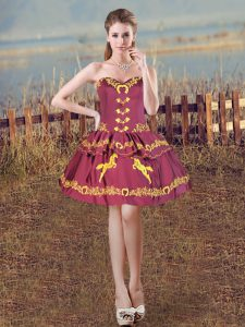 Beauteous Sleeveless Satin Mini Length Lace Up Pageant Dress Toddler in Burgundy with Embroidery