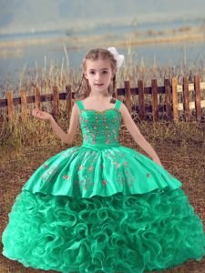 Sleeveless Sweep Train Lace Up Embroidery Child Pageant Dress