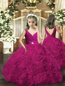 Attractive Floor Length Fuchsia Glitz Pageant Dress Fabric With Rolling Flowers Sleeveless Beading