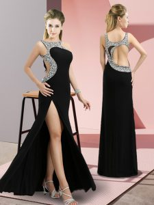 Fantastic Black Sleeveless Floor Length Beading Backless Winning Pageant Gowns