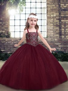 Burgundy Lace Up Straps Beading Pageant Gowns For Girls Tulle Sleeveless