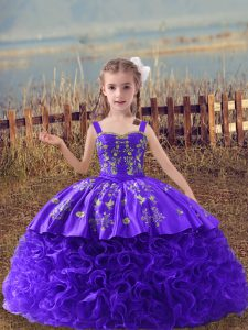 Purple Straps Lace Up Embroidery Little Girl Pageant Gowns Sweep Train Sleeveless
