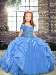 Enchanting Blue Lace Up High School Pageant Dress Beading and Ruffles Sleeveless Floor Length