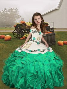 Affordable Turquoise Pageant Dresses Prom and Sweet 16 and Wedding Party with Embroidery and Ruffles Straps Sleeveless Lace Up