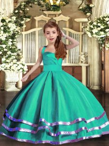 Floor Length Lace Up Girls Pageant Dresses Turquoise for Party and Wedding Party with Ruffled Layers