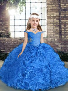 Royal Blue Fabric With Rolling Flowers Lace Up Pageant Dress for Teens Sleeveless Floor Length Beading and Ruching