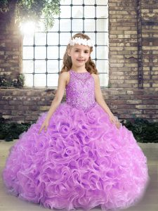 Gorgeous Lilac Scoop Lace Up Beading Little Girls Pageant Dress Sleeveless