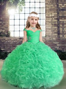 High End Straps Sleeveless Fabric With Rolling Flowers Kids Pageant Dress Beading Lace Up