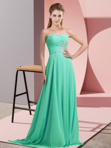 Hot Sale Apple Green Sleeveless Beading and Appliques Pageant Dress for Teens