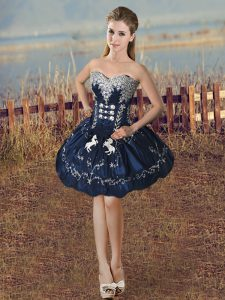 Navy Blue Sleeveless Beading and Embroidery Mini Length Winning Pageant Gowns