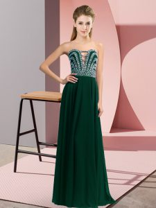 Peacock Green Sleeveless Beading Floor Length Pageant Dress for Teens