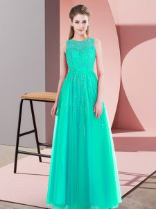 Colorful Turquoise Sleeveless Floor Length Beading Side Zipper Pageant Dress for Womens