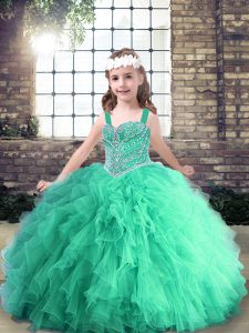 Charming Turquoise Sleeveless Tulle Lace Up Little Girls Pageant Dress Wholesale for Party and Wedding Party