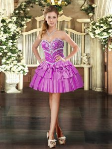 Modern Mini Length Ball Gowns Sleeveless Lilac Pageant Dress for Teens Lace Up