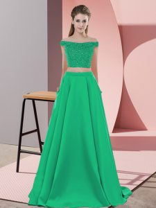 Off The Shoulder Sleeveless Elastic Woven Satin Evening Gowns Beading Sweep Train Backless