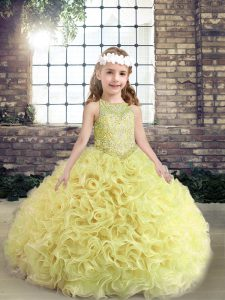 Yellow Green Sleeveless Fabric With Rolling Flowers Lace Up Winning Pageant Gowns for Party and Wedding Party