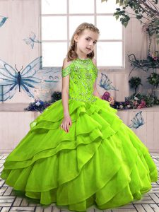 Ball Gowns High-neck Sleeveless Organza Floor Length Lace Up Beading Little Girl Pageant Dress
