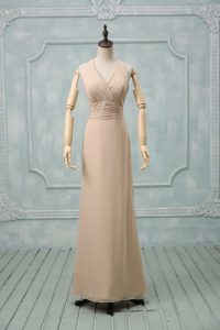 New Arrival Floor Length Champagne Pageant Dress for Teens Halter Top Sleeveless Backless